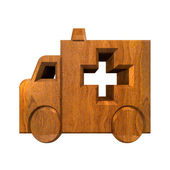 Ambulance symbol in wood - 3d — Stock Photo