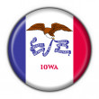 Iowa (USA State) button flag round shape — 图库照片