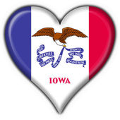 Iowa (USA State) button flag heart shape — Stock Photo
