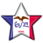 Iowa (USA State) button flag star shape — Stock Photo