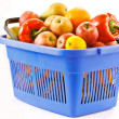 Food basket of fruit and vegetables — Stock Photo