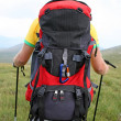 Mountaineer with backpak — Stock Photo