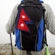 Mountaineer with Nepal flag — Stock Photo