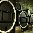 Stock Photo: Giant old wooden barrels