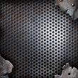 Grunge crack metal background with rivets - Stok fotoğraf