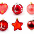 Red christmas boubles or balls isolated collection — Stock Photo