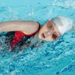 Girl swimming stroke closeup — Stock Photo
