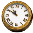 Old vintage  brass or bronze clock isolated — ストック写真