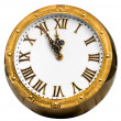 Old vintage brass or bronze clock displaying five minutes befor — Stock Photo