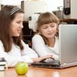 Two schoolgirls concentrated on their task with notebook — Stock Photo