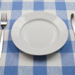 Knife, white plate and fork on blue checked tablecloth — Stock Photo