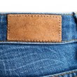 Stock Photo: Blank leather label back view of weared jeans