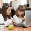 Two schoolgirls performs task using notebook — Stock Photo