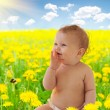 Babygirl sitting among dandelion collage — Stock Photo