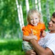 Father and happy son having fun outdoor — Stock Photo
