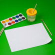 Still life with watercolour and empty paper sheet for you pictur — Stock Photo