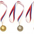 Stock Photo: Complete set of sport medals isolated on white
