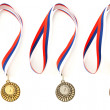Complete set of sport medals isolated on white - Stock Photo