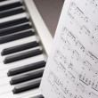Musical notes on composer isolated studio shot — Stock Photo