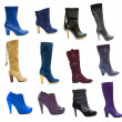 Stock Photo: Collection or set of 18 items female boots and shoes for winter