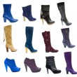 Collection or set of 18 items female boots and shoes for winter — Stock Photo
