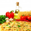Royalty-Free Stock Photo: Pizza and ingredients with focus on pizza