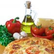Pizza and ingredient isolated on white — Stock Photo
