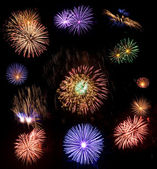 Big collection of real fireworks isolated on black background — Stock Photo