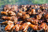 Barbecue or fried chicken and pork meat — Stock Photo