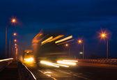Trucks on night road — Stock Photo