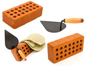Red perforated ceramic brick, trowel and gauntlet set isolated o — Stock Photo