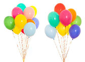 Colourful balloons bunch filled with helium isolated on white — Stock Photo