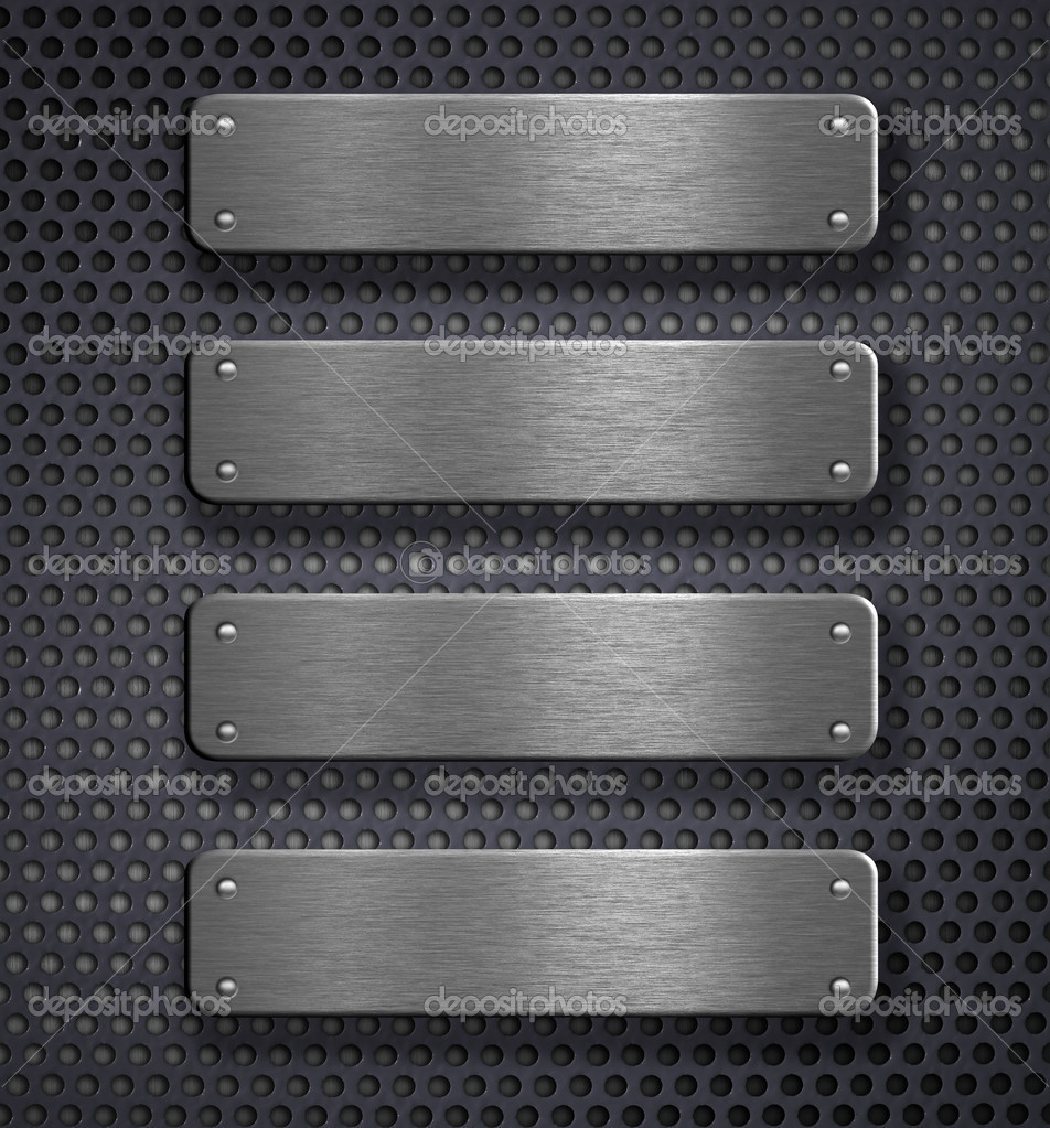 Four metal plates over grid background — Stock Photo #5312301