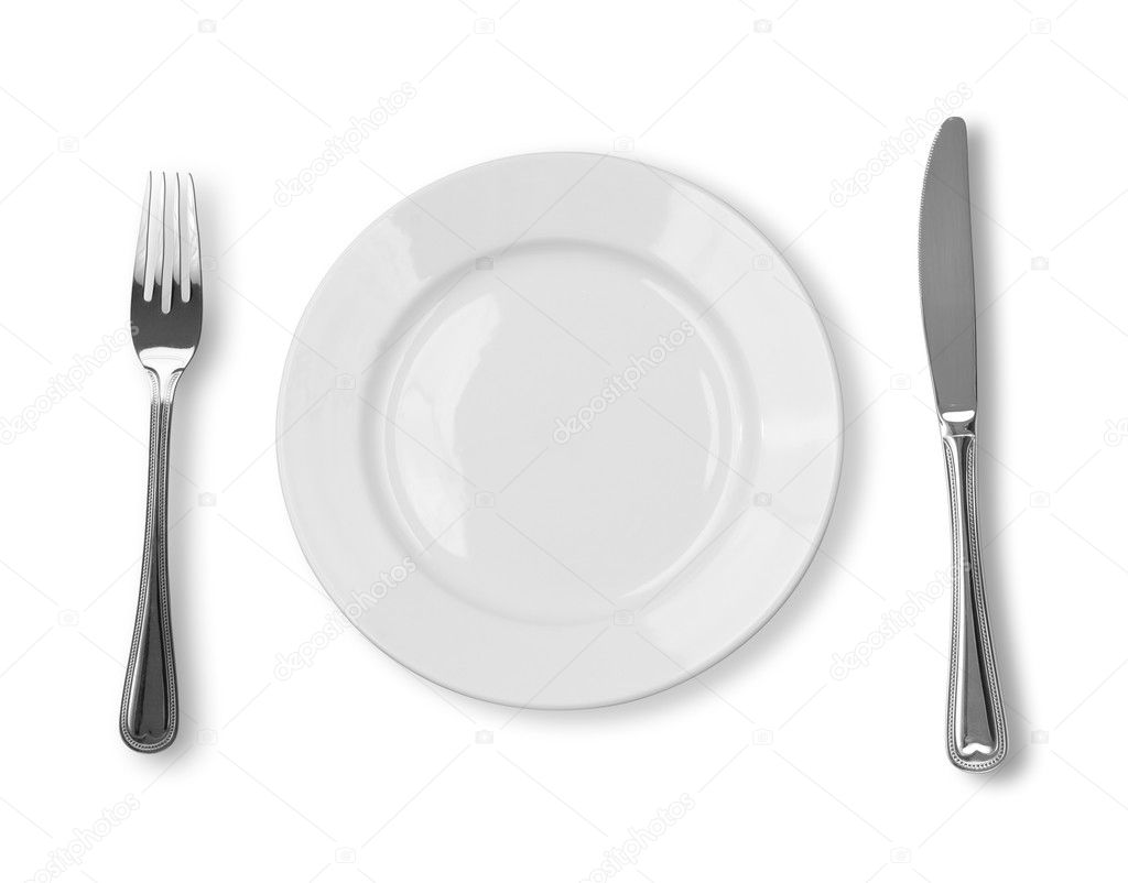 Knife, white plate and fork isolated  Stock Photo #5312313