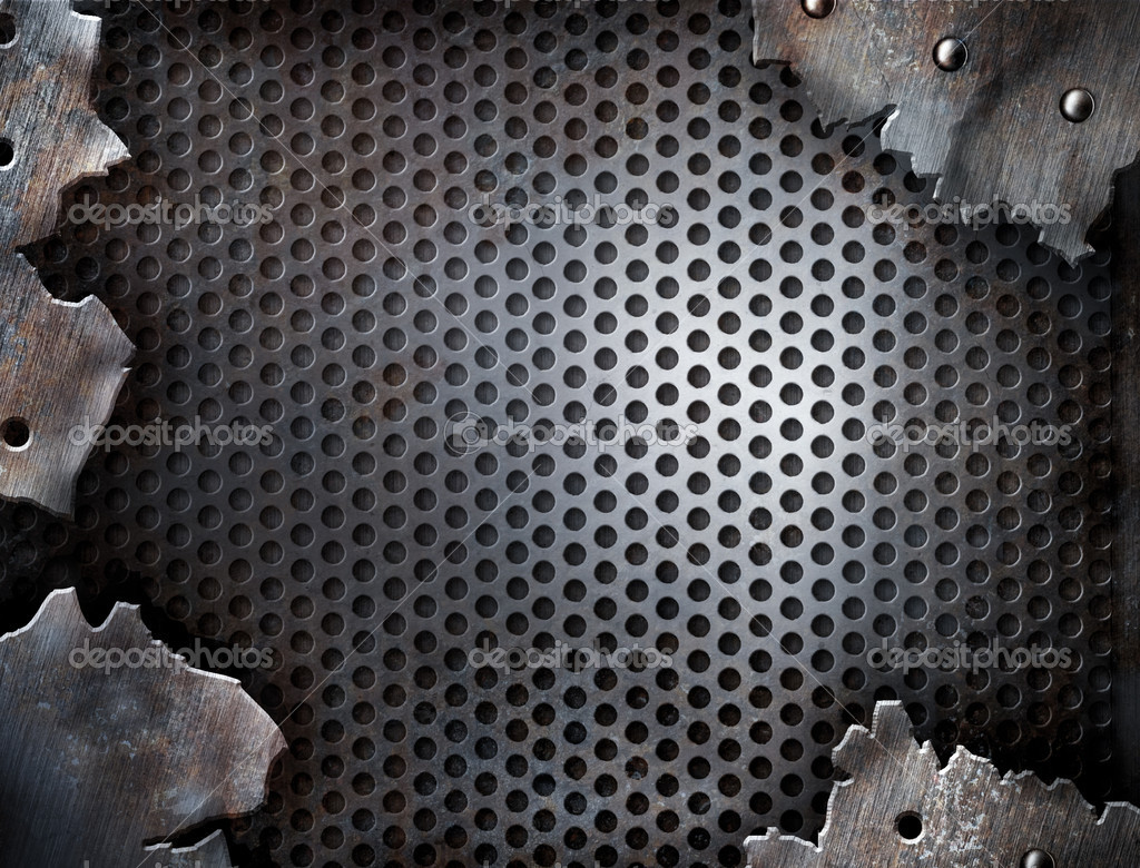 Grunge crack metal background with rivets — Stock Photo #5312334