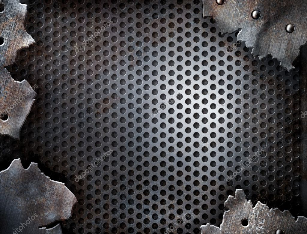 Grunge crack metal background with rivets — Photo #5312334