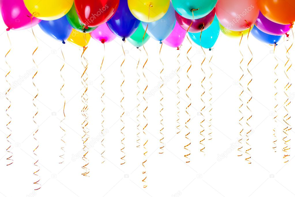 Colorful balloons filled with helium and with golden streamers