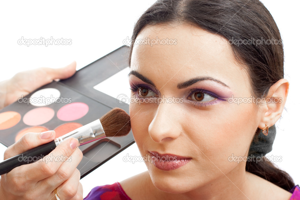 Makeup applying blusher — Stock Photo #5313048