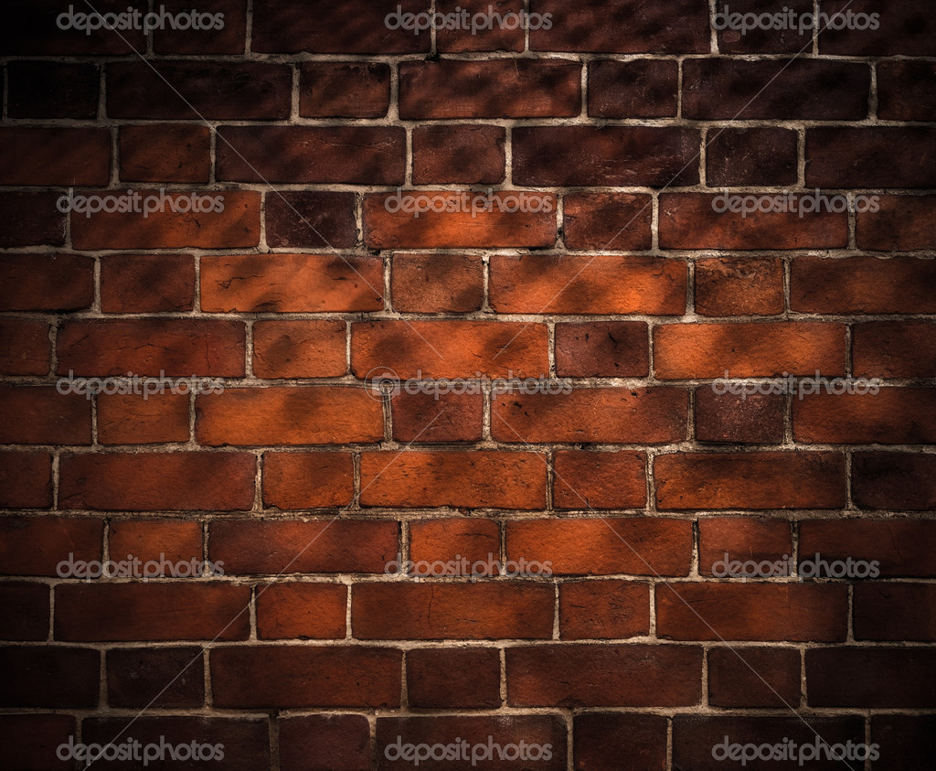 Old brick wall background with grid shadow — Stock Photo #5313113