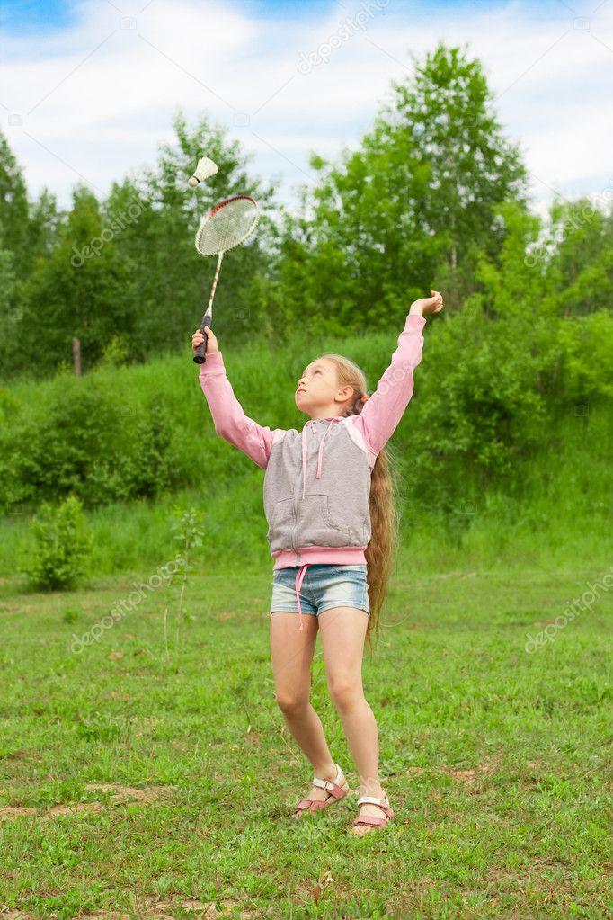 Badminton Players Girls Little Girl Playing Badminton