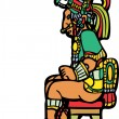 Sitting Mayan Lord - Stock Vector
