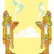 Stock Vector: Mayans with smoking bowls