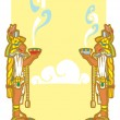 Mayans with smoking bowls - Stock Vector