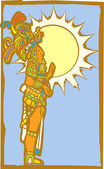Mayan Lord with Sun — Stok Vektör