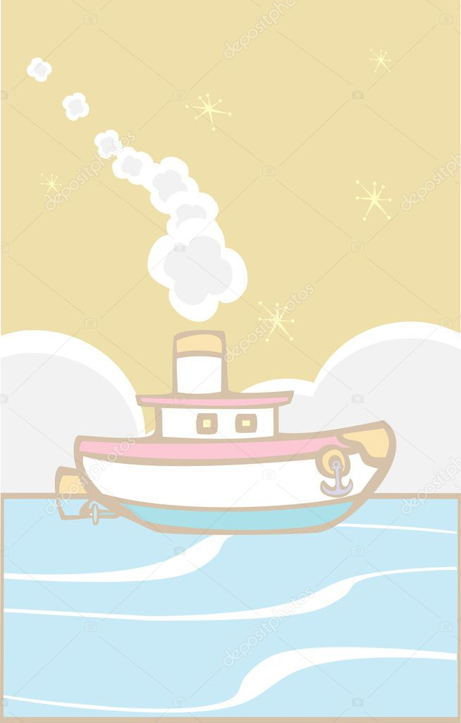 Toy tugboat blows white smoke on the ocean. — Stock Vector #4400071