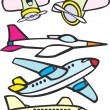 Stock Vector: Mixed Toy Aircraft