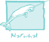 Narwhal in Blue — Stock Vector