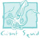 Giant Squid in Blue — Stock Vector