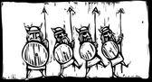 Line of Vikings — Stock Vector