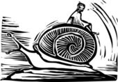 Riding a Snail — Stok Vektör